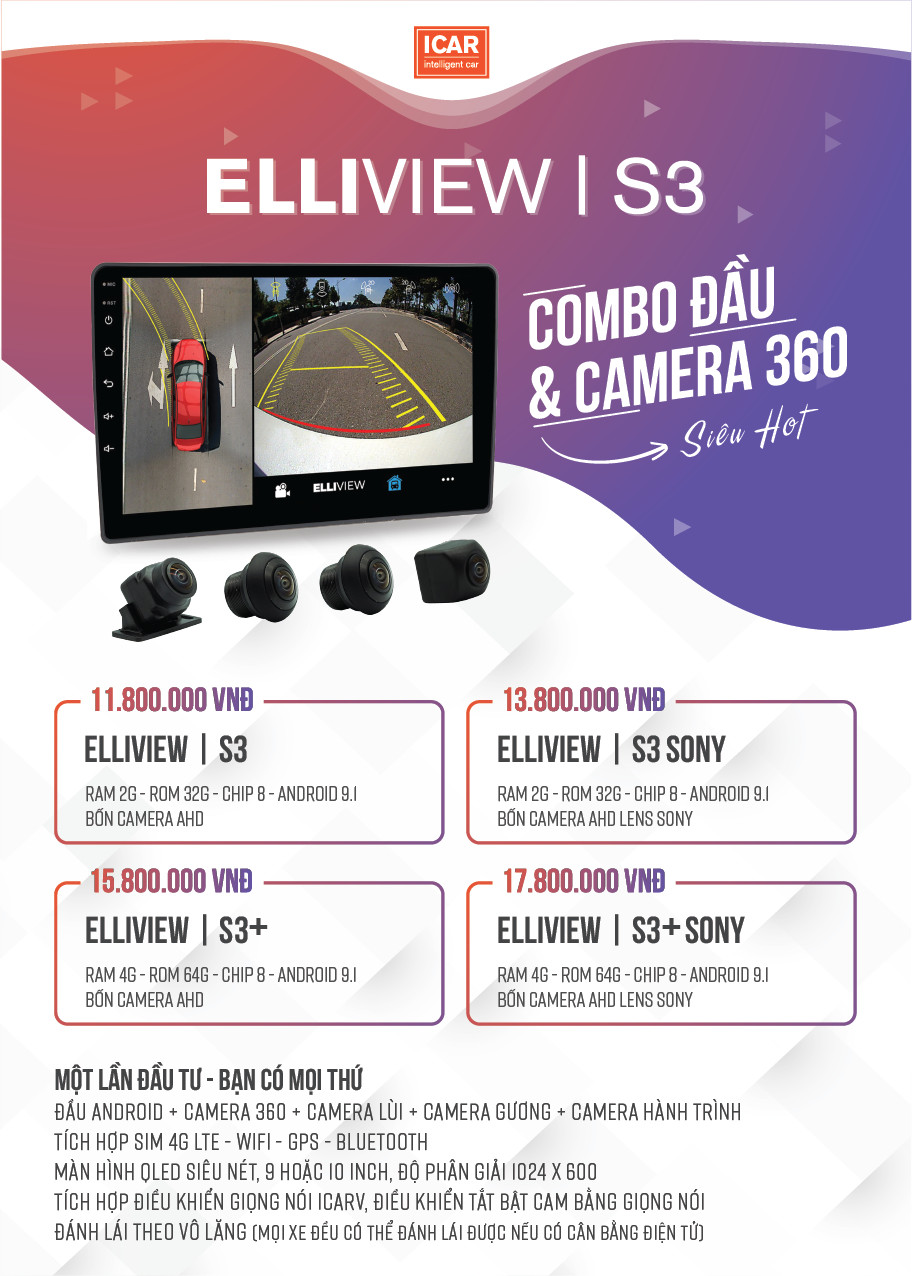 man hinh android kem camera 360 elliview s3