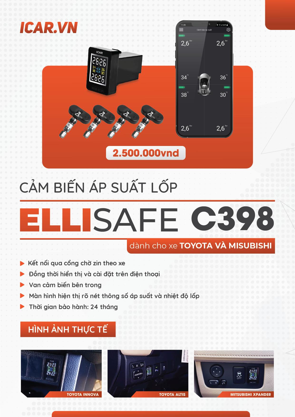 Cảm biến áp suất lốp tích hợp lỗ chờ Toyota & Mitshubishi, hiển thị trên điện thoại.